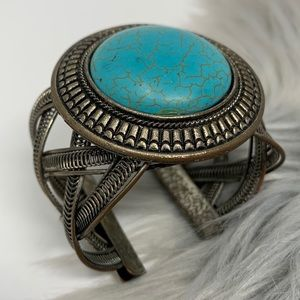 Silver Braided Turquoise Stone Cuff Bracelet